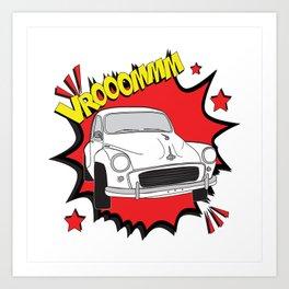 "Morris Minor ""vrooom"" Pop Art Art Print"