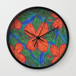 Luau Flower Print Wall Clock