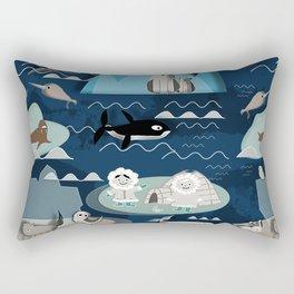 Arctic animals blue Rectangular Pillow