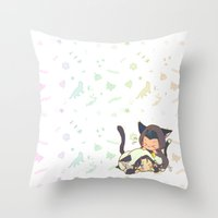 kittens Throw Pillows featuring Kittens by MGNemesi