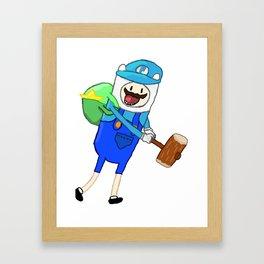 Mario + Finn Crossover Framed Art Print