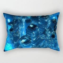 Blue neon city skyscrapers modern technology concept Rectangular Pillow