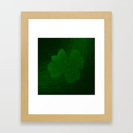 with a small brush shiny green shamrock Framed Art Print