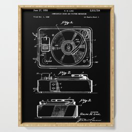 Turntable Patent - White on Black Serving Tray