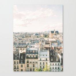Parisian rooftops on film   Paris city views   Fine Art Travel Photography Canvas Print
