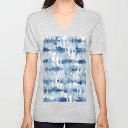 Modern hand painted dark blue tie dye batik watercolor Unisex V-Neck
