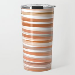 Fall Orange brown Neutral stripes Minimalist Travel Mug
