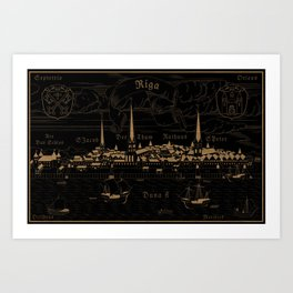 Riga 1544 (wood inverted) Art Print