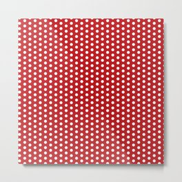 White dots in red background Metal Print