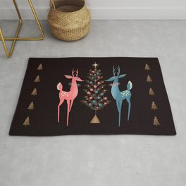 Midcentury Pink And Aqua Holiday At The North Pole Rug