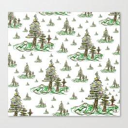 Trees on White Canvas Print