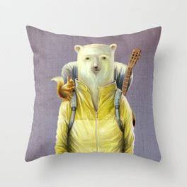 bear-tourist Throw Pillow