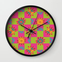 Paracas flowers I Wall Clock