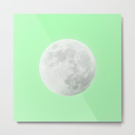 WHITE MOON + LIME SKY Metal Print