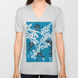TREE BRANCHES BLUE AND WHITE WITH BLACK BERRIES TOILE Unisex V-Neck