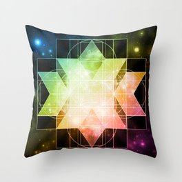 Rainbow Galaxy Sacred Geometry: Rhombic Hexecontahedron Throw Pillow