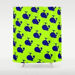 Little Whale (green) Shower Curtain