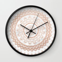 Mandala - rose gold and white marble Wall Clock