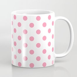 Small Polka Dots - Flamingo Pink on White Coffee Mug