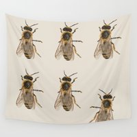 bees Wall Tapestries featuring Bees  by Cécile Pellerin
