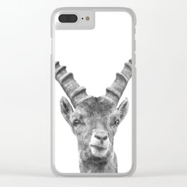 Black and white capricorn animal portrait Clear iPhone Case