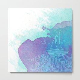 Watercolor Boat Doodle Metal Print