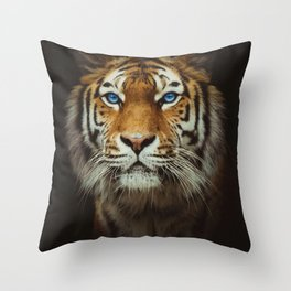 Wild Tiger with Blue eyes Throw Pillow