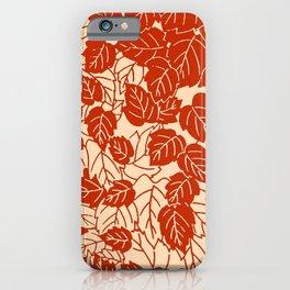 Japanese Leaf Print, Mandarin Orange iPhone Case