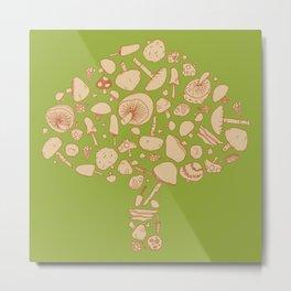 Fungi V1 Vintage Mushroom Pattern Metal Print