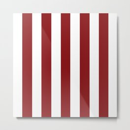 Strawberry Jam red - solid color - white vertical lines pattern Metal Print