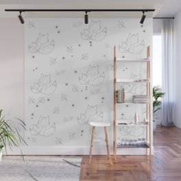 Fox and Flowers Doodle Pattern Wall Mural