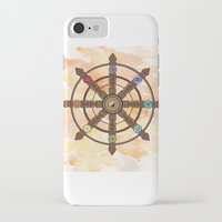 buddhism iPhone & iPod Cases featuring Buddhism Dharma Wheel by Rachael Amber