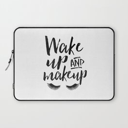 WAKE UP And MAKEUP, Salon Decor,Bedroom Decor,Girls Room Decor,Fashion Art,Modern Art,Printable Wall Laptop Sleeve