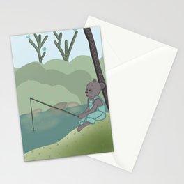 Fishing Bear, nursery, original artwork Stationery Cards