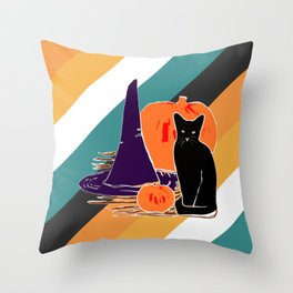 Witch Cat Pumpkin in Candy Corn Throw Pillow