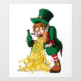 Funny St Patricks Day - Puking Leprechaun Gold Art Print