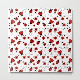 Red Ladybug Floral Pattern Metal Print