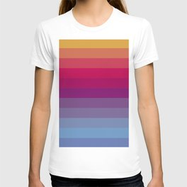 Carnival Sunset- Digital Rainbow Striped Art Print T-shirt