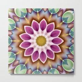 Happy Fuschia Flower Kaleidoscope Metal Print