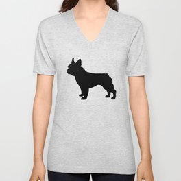 Boston Terrier black and white silhouette minimal pet portrait dog silhouettes Unisex V-Neck