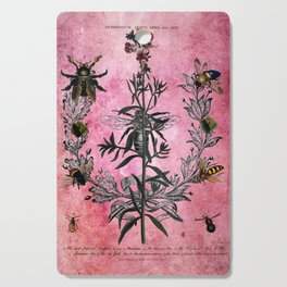 Vintage Bees with Toadflax Botanical illustration collage Cutting Board