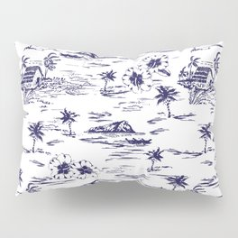 Tropical Island Vintage Hawaii Summer Pattern in Navy Blue Pillow Sham
