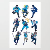 team fortress Art Prints featuring Team Fortress 2 - White bg by hijinxx