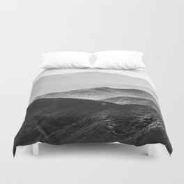 Glimpse - Black and White Mountains Landscape Nature Photography Duvet Cover