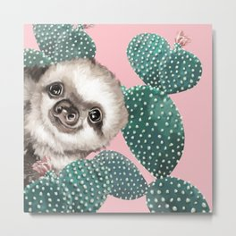 Sneaky Baby Sloth and Cactus in Pink Metal Print