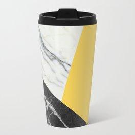 Black and white marble with pantone primrose yellow Travel Mug