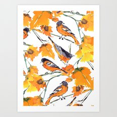 Birds in Autumn Art Print