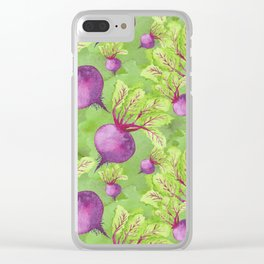Beets on Green Background Watercolor Clear iPhone Case