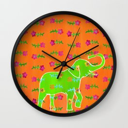 Elephant - green Wall Clock