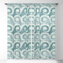 Vintage Waves - Tropical Teal Sheer Curtain